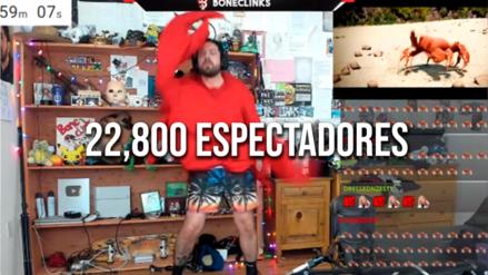 Hombre se viste de cangrejo y baila por 10 horas sin parar en Twitch y miles de personas lo aclaman