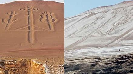 Un manto de sal cubrió 'El Candelabro' de la Reserva Nacional de Paracas