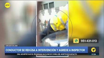 Centro de Lima: conductor se niega a ser intervenido y escapa con inspector encima del auto