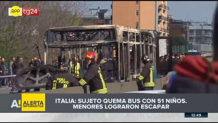 Un hombre prendió fuego a un autobús escolar en Italia por