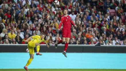Cristano Ronaldo y su increíble salto de casi tres metros en el Portugal vs. Ucrania