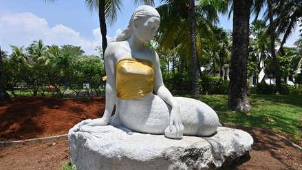 El motivo por el cual los bustos de estatuas de sirenas fueron tapados en un país de Asia