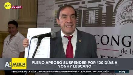 """Yonhy Lescano tras ser suspendido: """"Se ha consumado una cobarde vendetta política"""""""