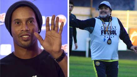 El peculiar obsequio que le hizo Ronaldinho a los Dorados de Sinaloa de Diego Maradona