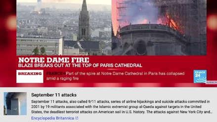 YouTube asoció por error el incendio en Notre Dame con el atentado del 11 de septiembre