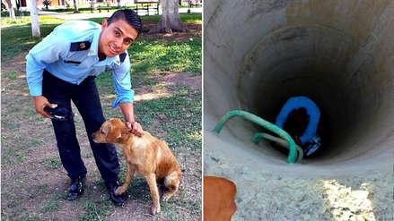 Agentes municipales rescatan a un perro que cayó a un pozo con agua en Trujillo