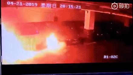 Tesla: Cámaras de seguridad captan el preciso momento de la explosión de un auto eléctrico en China