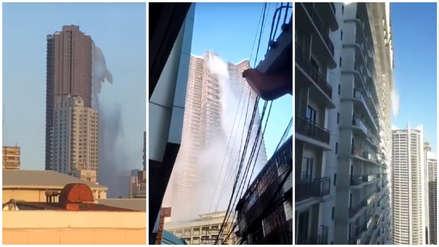 Terremoto en Filipinas: El momento del colapso de una piscina en la terraza de un edificio [VIDEO]