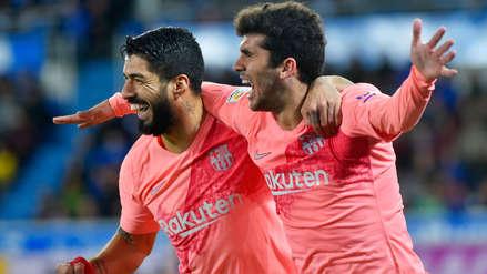 Carles Aleña recibió pase de Sergi Roberto y anotó el primer gol del Barcelona ante Alavés