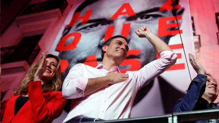 Pedro Sánchez celebra victoria del PSOE en España: