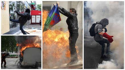 Francia: 25 imágenes de los violentos disturbios durante el 'Día del Trabajador' en París