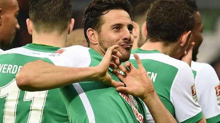 Claudio Pizarro anotó golazo de zurda con Werder Bremen ante Borussia Dortmund