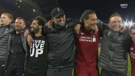 La emotiva celebración de los jugadores de Liverpool tras clasificar a la final de Champions League