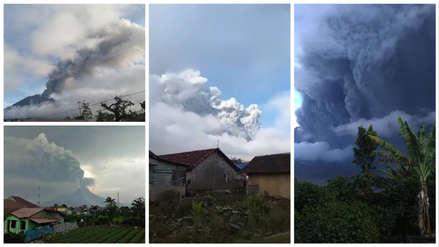 Alerta en Indonesia: Volcán Sinabung entró en erupción y expulsó una columna de ceniza de 2,000 metros