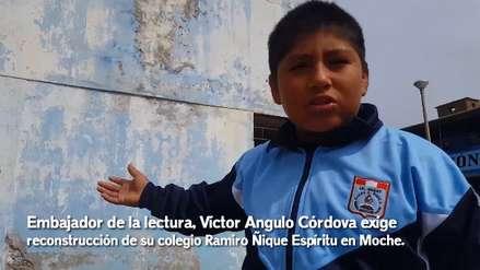 Niño embajador de la lectura pide a presidente Vizcarra reconstruir su colegio porque se cae a pedazos