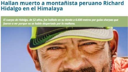 Richard Hidalgo: así reaccionó la prensa mundial tras la muerte de montañista peruano