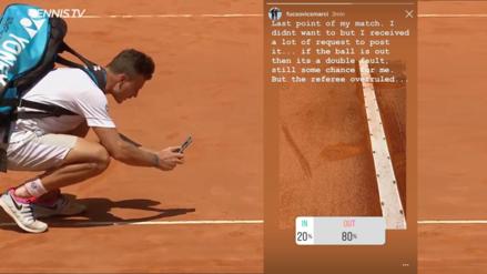 ¿Dentro o fuera? un tenista hizo una encuesta en Instagram con la marca en la cancha para discutir la decisión del árbitro