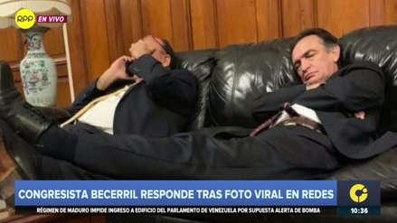 """Becerril culpó a un """"congresista felón"""" de filtrar foto en la que se le ve durmiendo en el Congreso"""
