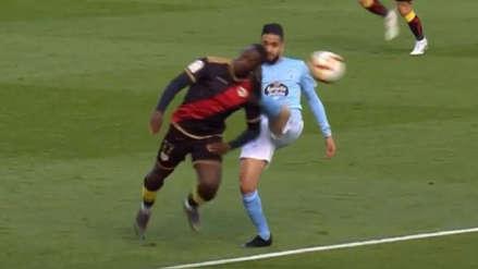 ¡Apareció de la nada! Luis Advíncula provocó penal en empate de Rayo Vallecano con Celta de Vigo