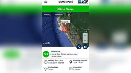 Sismo de magnitud 3.9 sacudió a la región Lambayeque esta madrugada