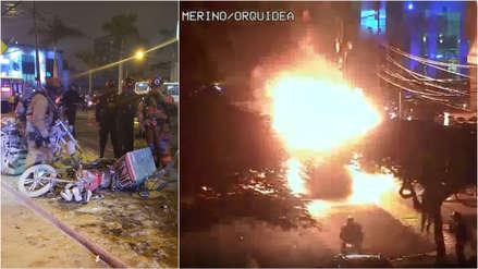 Las impresionantes imágenes de la explosión de una moto en plena calle de San Isidro