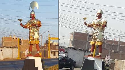 Inauguran estatua del Señor de Sipán y al día siguiente roban la corona en Trujillo