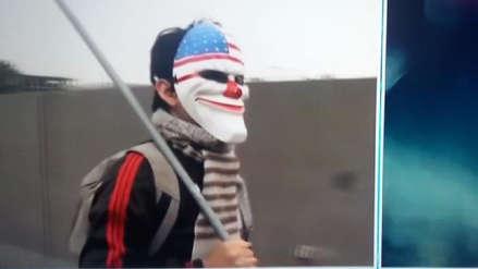 La curiosa máscara de un videojuego que llegó a las protestas contra peaje en Puente Piedra