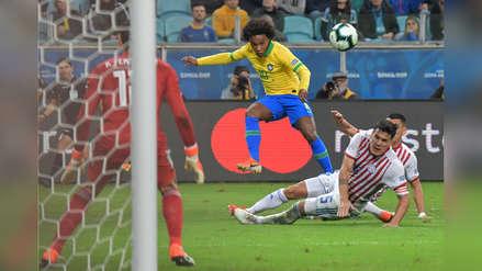 ¡Por poco!: Willian remató al palo en partido entre Brasil y Paraguay
