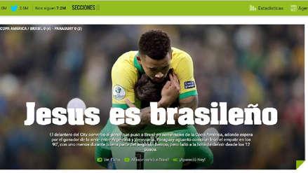 Así tituló la prensa internacional el triunfo de Brasil ante Paraguay por cuartos de final de Copa América
