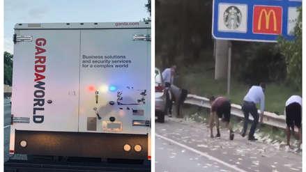 La puerta de un camión cargado de miles de dólares se abrió y así reaccionó la gente [VIDEO]
