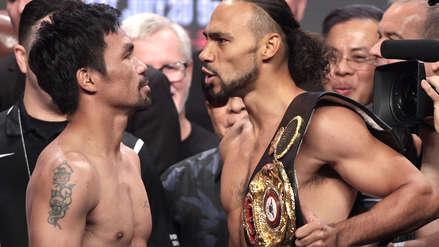 Manny Pacquiao y Keith Thurman: 20 fotos del intenso careo en el pesaje por el título peso wélter de la AMB