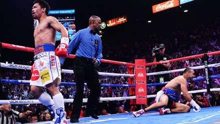 ¡Lo dejó en el suelo! Manny Pacquiao derribó a Keith Thurman en el primer round con fuerte golpe