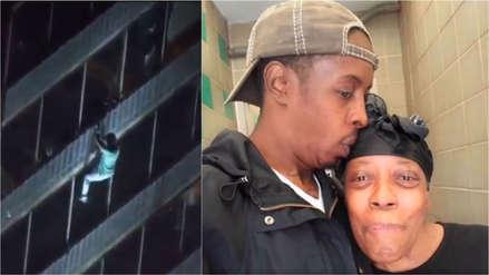 Hombre escaló 15 pisos de un edificio para salvar a su mamá de un incendio