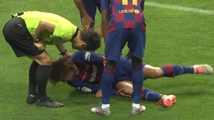 ¡Dio un susto! Antoine Griezmann quedó sentido tras sufrir durísima falta en su debut con Barcelona