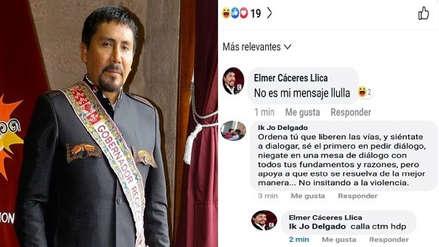 Gobernador de Arequipa pierde los papeles en redes sociales y responde con insultos y mentada de madre