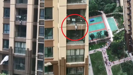 El tenso momento en que un niño de 3 años cae desde un quinto piso y es salvado por sus vecinos