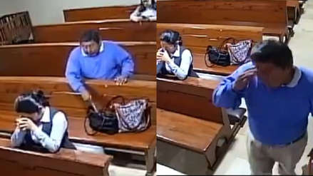 Ecuador: Ladrón se arrodilla en banca de iglesia, roba un celular y sale persignándose