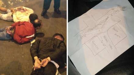 Policía detiene a tres hombres armados con un croquis de centro bancario en San Martín de Porres