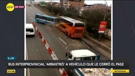 S.J.M. | Chofer de bus interprovincial embistió a vehículo que le cerró el paso [VIDEO]