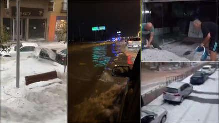 Calles llenas de granizo y autos arrastrados por el agua deja impresionante tormenta en España