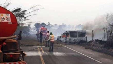 Seis personas murieron en accidente de tránsito causado por humo de incendios en Brasil