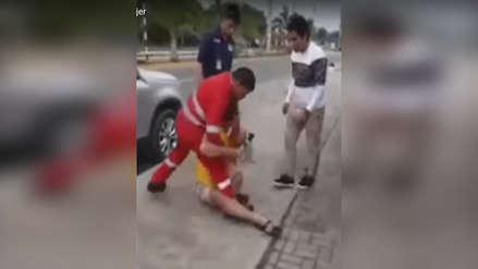 Bombero redujo a un hombre que agredía a una mujer en un restaurante de Tarapoto [Video]