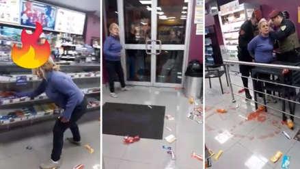 Mujer causó destrozos en un minimarket de Breña porque no quiso pagar por una bebida alcohólica
