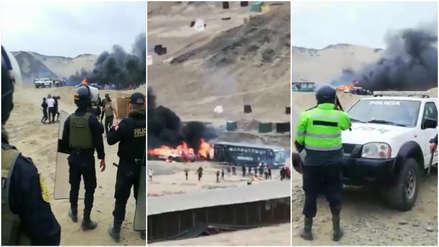 Seis policías heridos y cinco patrulleros incendiados en intento de desalojo en terrenos de Chavimochic