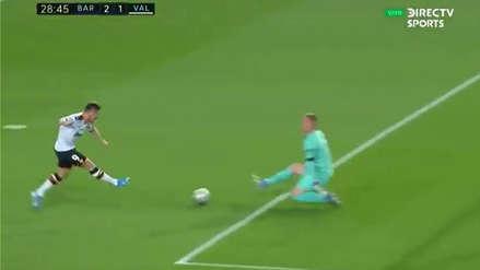 Mantiene con vida al Valencia: Kevin Gameiro descontó ante Barcelona con remate cruzado