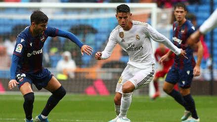 ¡Se lució! El taco de James Rodríguez para darle pase a Eden Hazard en el Santiago Bernabéu
