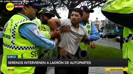 Serenazgo de Surco detuvo a un ladrón de autopartes tras reducirlo en persecución