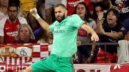 ¡De cabeza! Karim Benzema anotó el 1-0 para Real Madrid sobre Sevilla por LaLiga