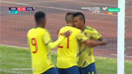 ¡Abrió el marcador! Luis Sandoval anotó el primer gol de Colombia ante Perú en el amistoso internacional Sub 23