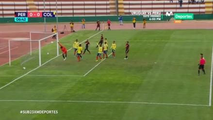 ¡Iba a ser un golazo! Martín Távara casi anota un gol olímpico en el amistoso Sub 23 entre Perú y Colombia
